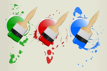 painting and decorating: 3 paint cans and brushesillustration, red,green,blue