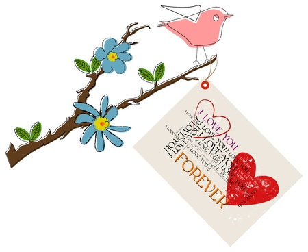Love concept: bird on a branch with flower and love letter Vector