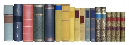 Bücher in einer Reihe, isoliert auf weißem Hintergrund, Blanko-Etiketten mit freier Kopie Raum Standard-Bild - 11670086