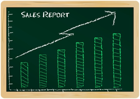 financial year: Sales report on a chalk board Illustration