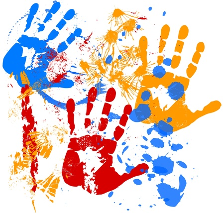 Paint splatters with silhouettes of hands Vector