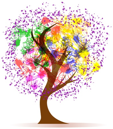 inkblot: Abstract colorful tree, illustration,isolated on white back Stock Photo