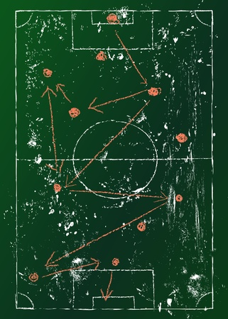 Voetbal Tactiek diagram, grungy