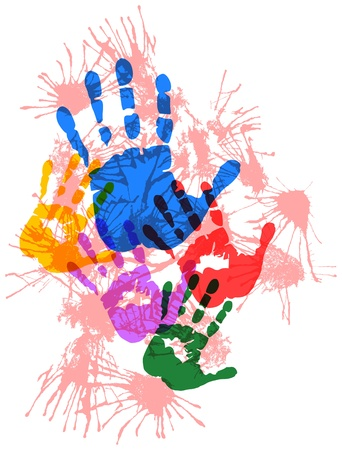 finger paint: Silhouettes of hands, paint splatters, grungy