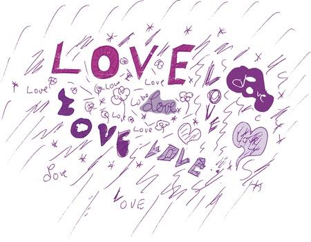 love concept, grungy style, vector  Vector