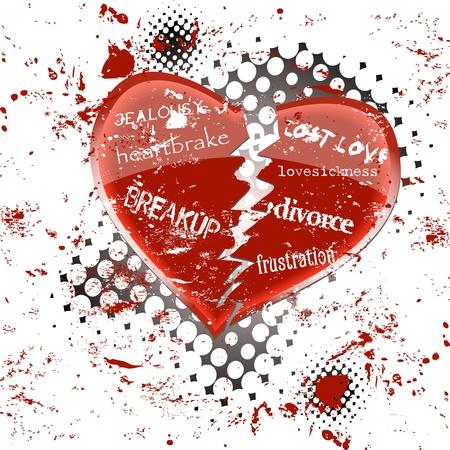 veszekedés: Szeretem betegség és szívfájdalom koncepció, vektoros illusztráció