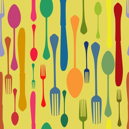 knife, fork and spoon seamless pattern Vector