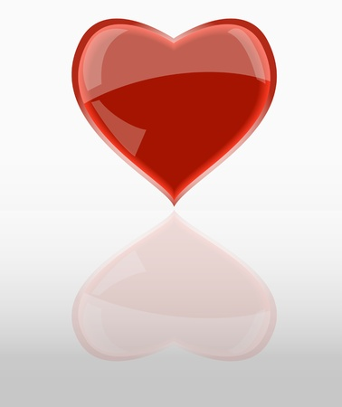modernffection: shiny red heart, w.mirroring, vector illustration Illustration