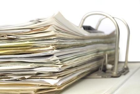 disorganization: File folder, close up, isolated on white background Stock Photo