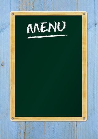 learning to cook: blank menu on blackboard, free copy space