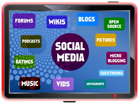 fictional: Social media and network concept, on a fictional tablet Pc