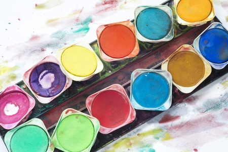Paint box with watercolor, close up Stock Photo - 12022616