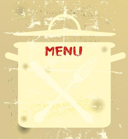 Grungy menu card, free copy space Vector