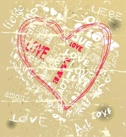 love design, heart, grungy style, vector  Vector