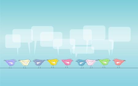 tweeting: Social media illustration, tweeting birds, free copy space Illustration