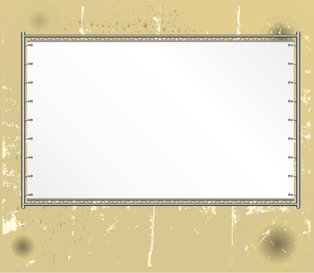 bill board: blank public billboard, on weathered wall, copy and picture space,vector Illustration