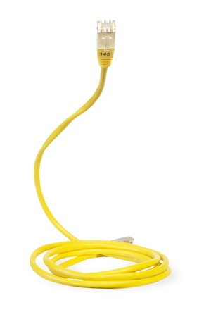 network cable: yellow network cable, isolated on white background