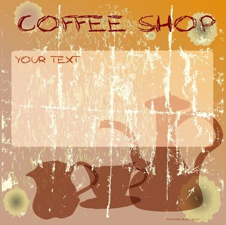 grungy coffee shop design template, vector illustration Vector