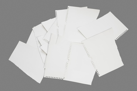 shred: Torn paper notes isolated, copy space Stock Photo