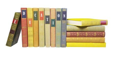 Bücher in einer Reihe, Bildungs-Konzept, isoliert auf weißem Hintergrund Standard-Bild - 12550170