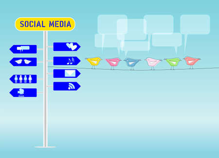 bookmarking: social media concept, illustration, free copy space