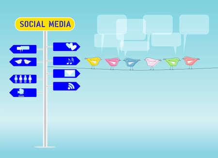 social media concept, illustration, free copy space Stock Vector - 12820973