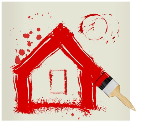 a red painted house with paint brush and splatters, illustration Vector