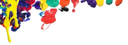 primary colors: Color drops and paint splatters border Stock Photo
