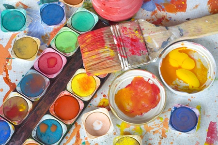 color paint and painting, still life, brushes and paint splatters Stock Photo - 12821053