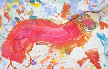 color paint and painting, still life, brushes and paint splatters Stock Photo - 12821054