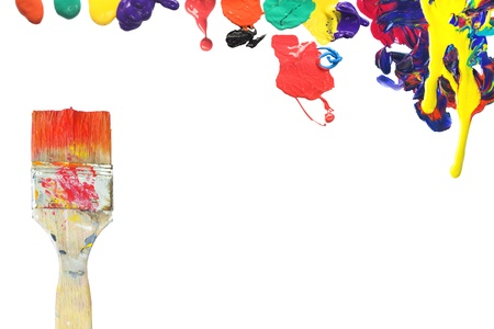 brush and paint splatters, free copy space Stock Photo - 12821057