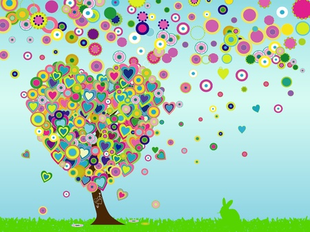 Hear tshaped tree, spring and easter illustration Vector