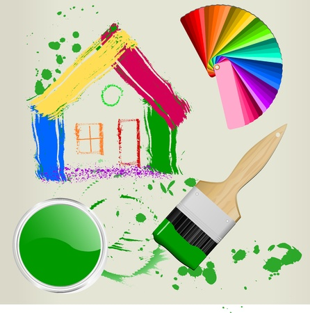 paint swatch: casa pintada con pincel y muestra de color, vector