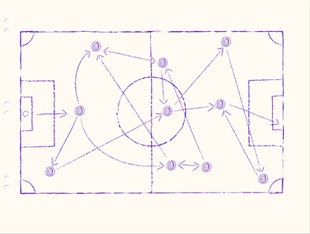 career coach: Soccer tactics on a sheet of paper, handwritten, free copy space