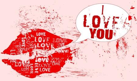 love concept, kiss, grungy style, vector  Vector