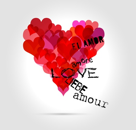 word of mouth: love concept, heart Illustration