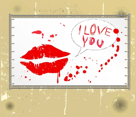 love concept, kiss on a public billboard, grungy style,  Vector