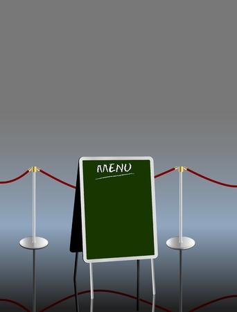 sandwich board: blank menu on sandwich board,free copy space, vector illustration