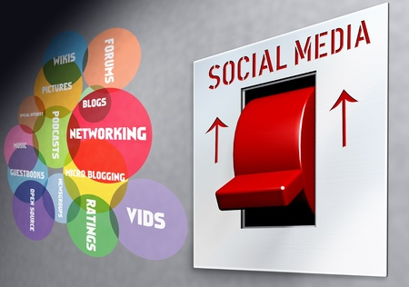 bookmarking: social network and media concept, switch Stock Photo