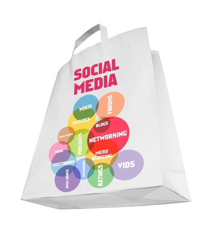 wikis: social media and network concept,shopping bag