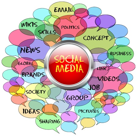 bookmarking: social network and media concept, switch Illustration