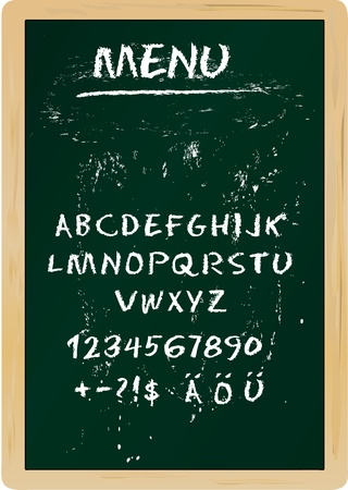Restaurant menu board, chalk stroked alphabet, plus special characters Vector