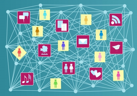 microblogging: social media and social network concept Illustration