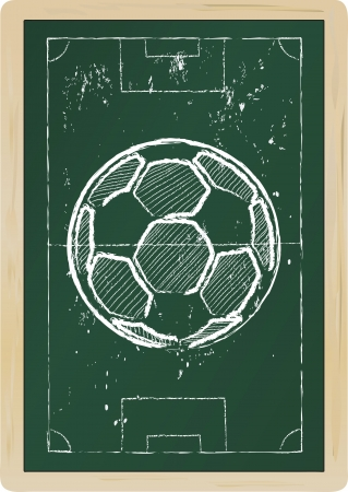 Soccer ball drawing on a chalkboard Stock Vector - 13950375