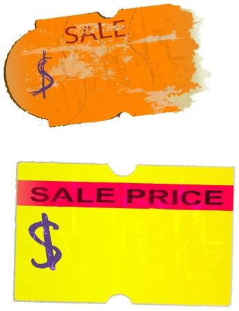 adhesive: conjunto de pegatinas de precios vintage, etiquetas adhesivas, ilustraci�n vectorial Vectores