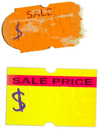 price label: set of vintage price stickers, adhesive labels, vector illustration