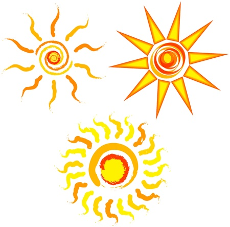 Set of abstract suns, illustration Stock Vector - 14272431