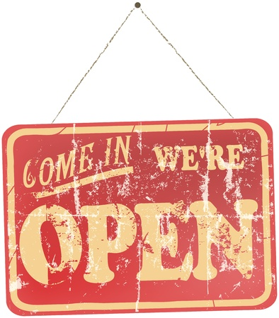 come in: vintage, worn Open Sign hanging, isolated On White Background  Illustration
