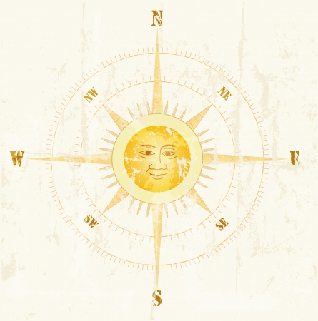 windrose: Vintage compass, vector illustration Illustration