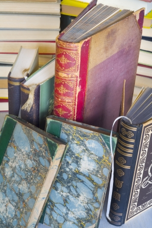 literacy: close up of a stack of vintage books  Stock Photo